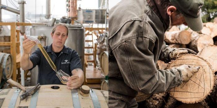 Ryan sampling some Tom Cat while it ages; Preparing American oak logs to make Tom Cat barrels