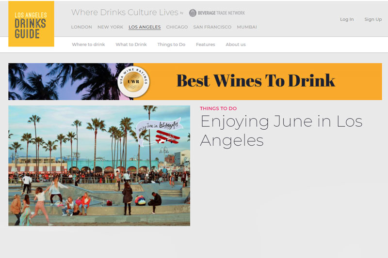 Los Angeles Drinks Guide Home page