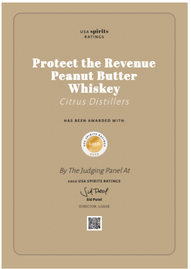 Protect the Revenue Peanut Butter Whiskey Certificate