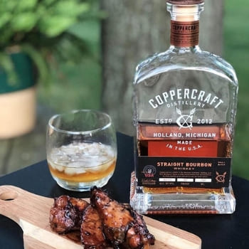 Coppercraft Distillery Straight Bourbon Whiskey and food